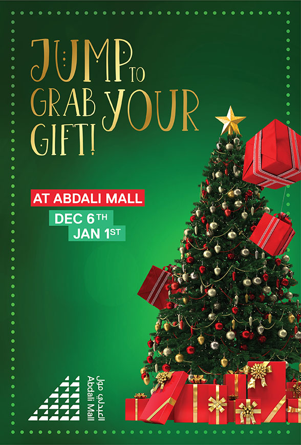 This Christmas Exchange Your Purchase Invoices At The Value Of JOD 50 Or More From Abdali Mall With A Ticket To Jump And Grab Valuable Gifts